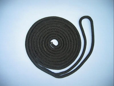 "3/8"" X 7' NYLON DOUBLE BRAID DOCK LINE - BLACK"